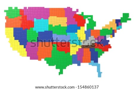 American map made with toy bricks over white background. 3D render and part of a series.