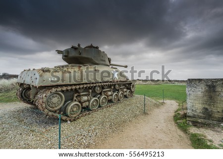 American tank on Utah Beach, Normandy invasion landing memorial