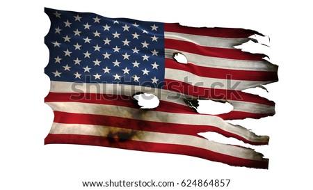 American United States Usa Us Flag Bullet Perforated Burned Grunge Tattered Waving Isolated On White Background