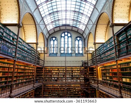AMSTERDAM, NETHERLANDS - DEC 27, 2015: The old library of Rijksmuseum, Amsterdam, Netherlands.This Library is the largest public art history research library in the Netherlands.