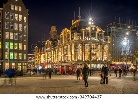 Dutch Square Mall >> Christmas Illumination Amsterdam Canal Stock Photo ...