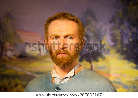 AMSTERDAM, NETHERLANDS - JUN 1, 2015: Vincent van Gogh, Madame Tussauds museum in Amsterdam. Marie Tussaud was born as Marie Grosholtz in 1761