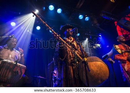Amsterdam, The Netherlands - February 17, 2016: concert of african band BKO Quintet at Paradiso Bitterzoet concert hall.