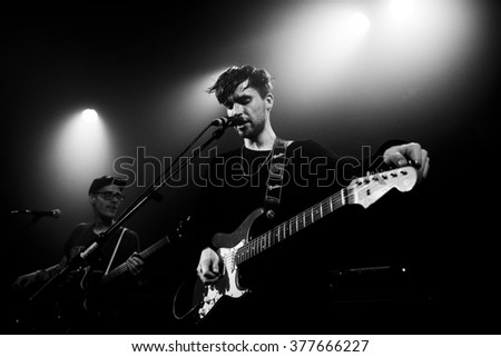 Amsterdam, The Netherlands - 11 february, 2016: concert of  Dutch indie rock trio Bombay for their Album Release Show at venue OT301