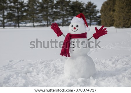 Amusing and cute snowman dressed up in red