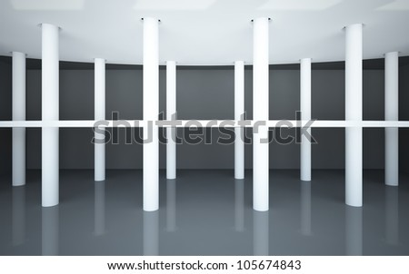 An abstract interior with a black glossy floor and balcony on the white round columns.