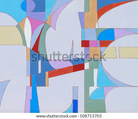 An abstract painting, cool colours, suggestive of futuristic urban architecture.