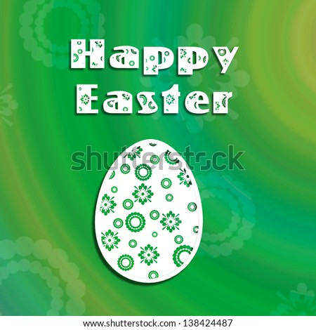 An abstract retro Easter illustration: a retro Easter egg on a colourful green background with abstract flowers.