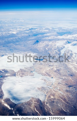 An aerial view of the Baffin Islands in Canada