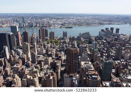 An aerial view over New York city