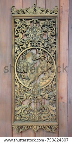 An ancient mural wood carving on wood wall thailand. & China Dragon On Door Thai Temple Stock Photo 201076352 - Shutterstock