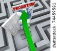 An arrow shoots through a maze to find an open door to a promotion, symbolizing career success - stock photo