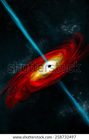 An artist's depiction of a black hole in interstellar space pulling in gas and dust that start to heat. Gamma ray bursts exit at the black hole's poles and shoot into space.