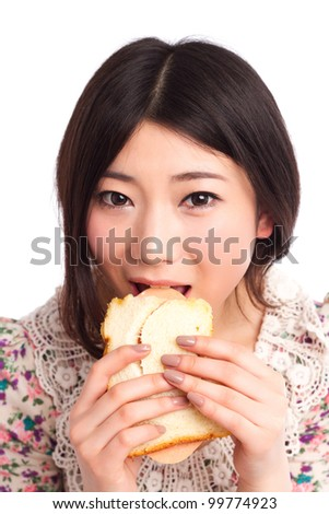 An Asian beauty eating Sandwich