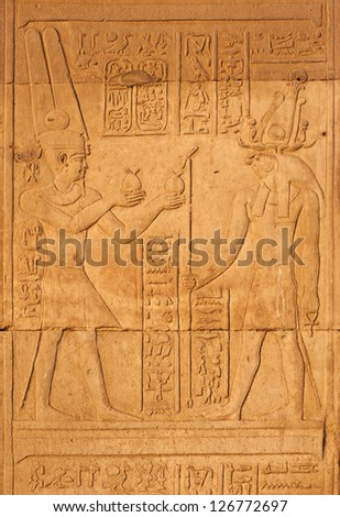 An egyptian hieroglyphic from Kom Ombo temple featuring gods Horus and Amon