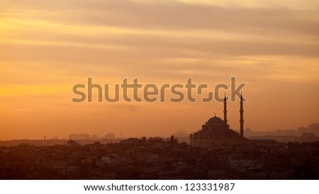 An iconic mosque  in Instanbul Turkey by sunset