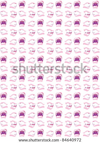 An illustrated pattern of mouths engaged in communication.