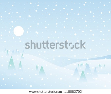 an illustration of a classic winter landscape with fir trees hills white sun and a blue sky with falling snowflakes