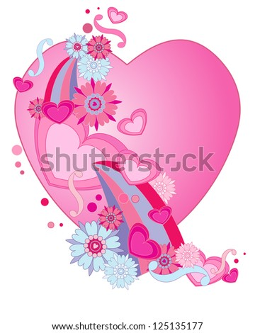 an illustration of a retro valentine heart design with stylized flowers swirls and shapes isolated on a white background