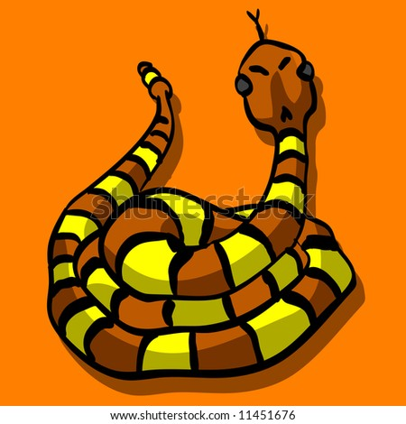 An illustration of a snake sticking out his tongue, looking threatening and cute at the same time.