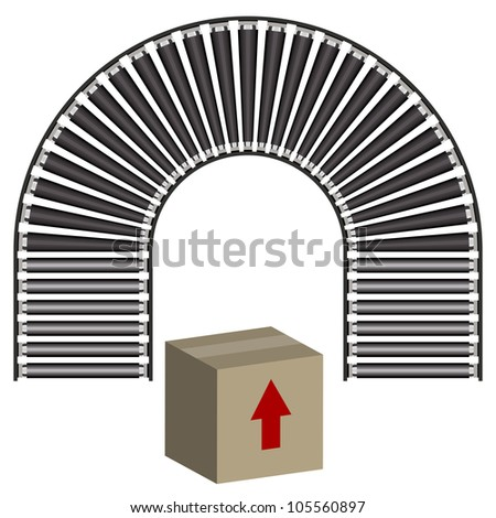 An image of a arc conveyor belt icon and 3d box.