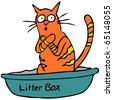 An image of a cat embarassed using the litterbox. - stock vector