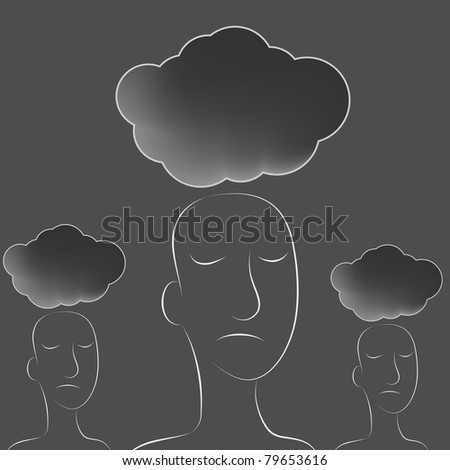 An image of a dark clouds over a group of people.