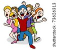 An image of a mob of people running and screaming. - stock vector