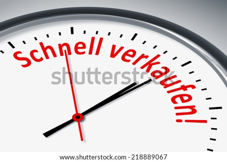 An image of a typical clock with text quick sell in german language