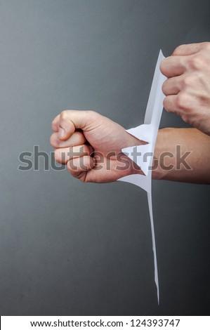 fist Thumb through