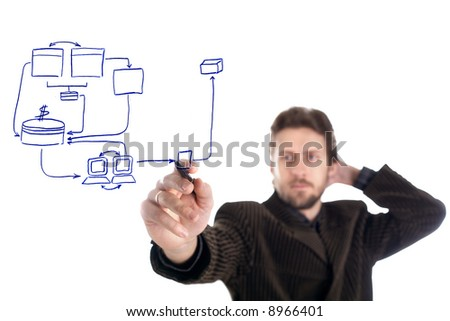 An image of man drawing a business plan