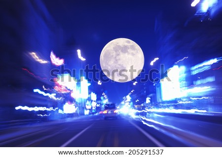 An Image of Road And Moon