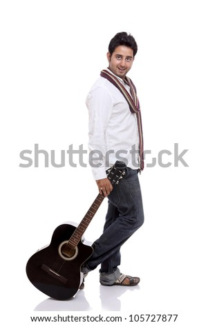 An Indian guitar player posing with guitar on white background.
