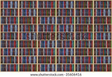 An infinite texture representing a bookshelf filled with books - all the titles and logos of my authorship - digital artwork