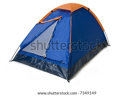 an isolated camping tent blue and orange in a white background