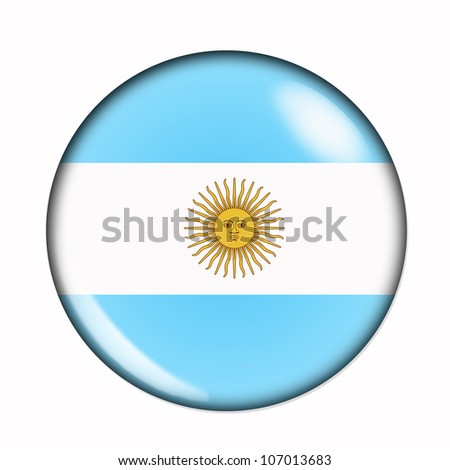 An isolated circular flag of Argentina