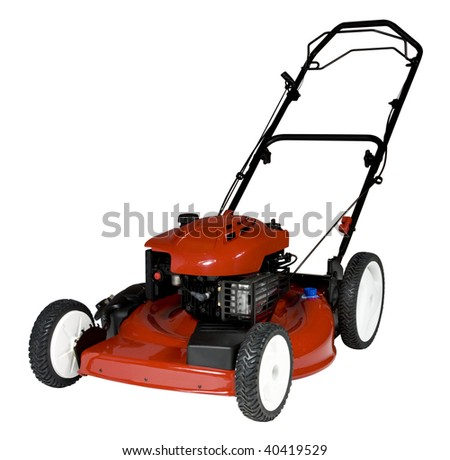 An isolated lawnmower on a white background.