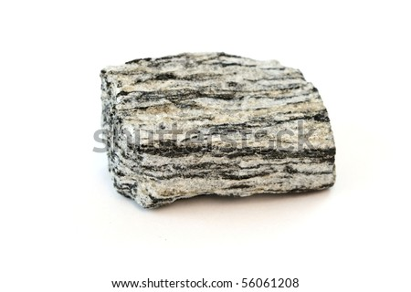 An isolated sample of the rock Gneiss