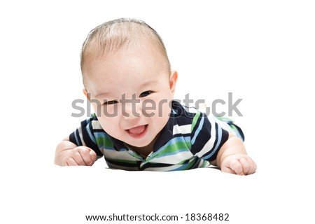 An isolated shot of a cute Asian baby boy