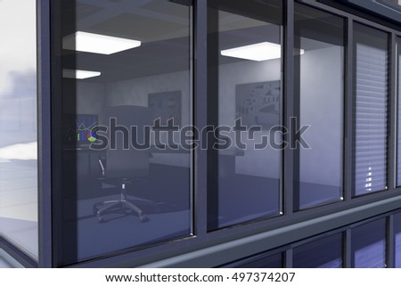 An office with diagram on the monitor (3d rendering)