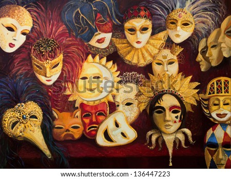 An oil painting on canvas of a colorful ornate traditional venetian masks on display, over a dark red curtain.