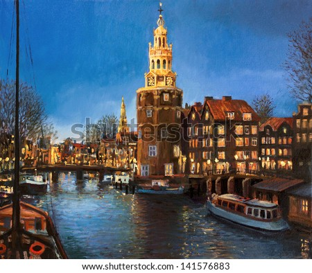 An oil painting on canvas of a peaceful panoramic evening view of Montelbaans Tower and the city lights reflecting in the canals of Amsterdam, Netherlands. Landscape carrying a sense of buzzing life.