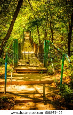 An old battered bridge in a shady forest area in Eastern Europe (republic of Moldova)