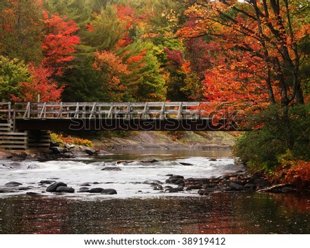 an old bridge over a narrow river with fall colors on the trees