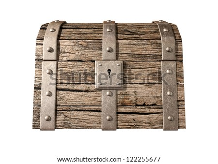 An old classic wood and iron closed treasure chest with a metal lock on an isolated background