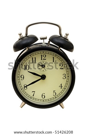 An old fashioned clock on a white background, clock