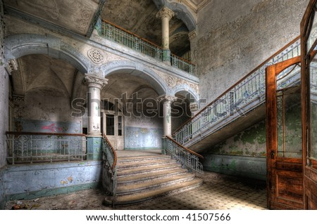 An old hospital for lung diseases in Beelitz near Berlin in the former soviet occupation area - abandoned since 1992.