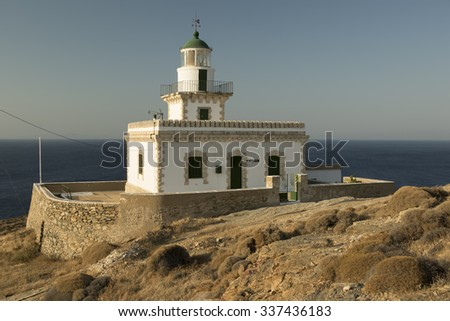 An old lighthouse building in Serifos island, Greece