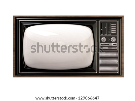 An old vintage tube television with wood trim and chrome dials on an isolated background