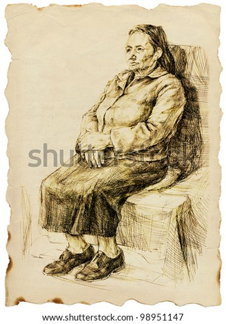 an old woman sitting in a wide skirt - drawing